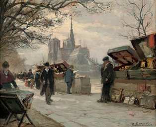 Selling antiques by the Seine,