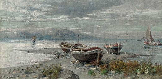 Fishing boats on the shore, Ca