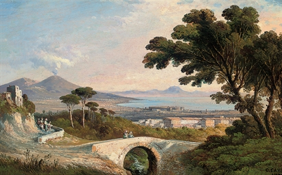 Figures on a bridge, Vesuvius