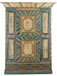 A TYROLEAN PAINTED ARMOIRE