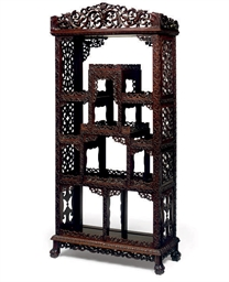 A CHINESE HARDWOOD DISPLAY CAB