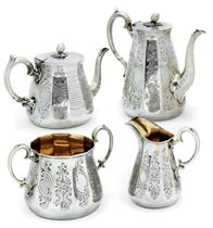 A VICTORIAN FOUR-PIECE SILVER TEA AND COFFEE SET
