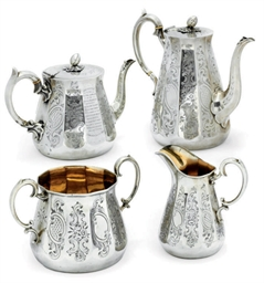 A VICTORIAN FOUR-PIECE SILVER