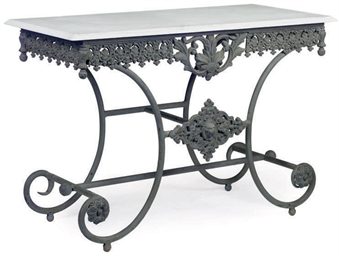 A FRENCH CAST AND WROUGHT IRON