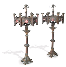 A PAIR OF VICTORIAN GOTHIC SEV