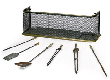 A SET OF THREE BRASS AND STEEL