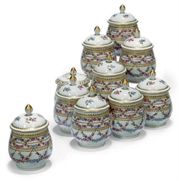 A SET OF TEN SEVRES-STYLE CUST