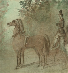 A coachman and two horses