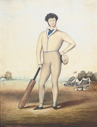 Study of a batsman, with a cri