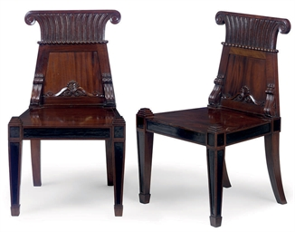 A PAIR OF CARVED MAHOGANY HALL