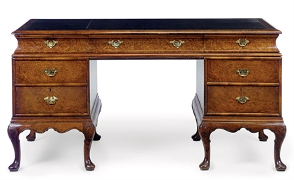 A BURR-WALNUT PEDESTAL DESK