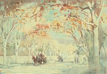 Horses and carts on a tree-lined street