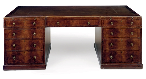 A WALNUT PARTNERS' PEDESTAL DE