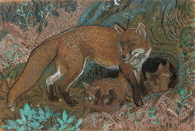 A vixen with her cubs