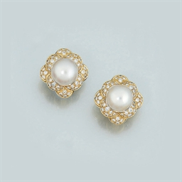 A Pair of 18ct. Gold, Cultured