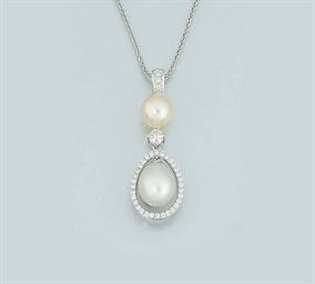 A pearl and diamond pendant ne