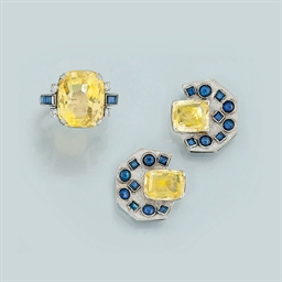 A yellow sapphire and sapphire