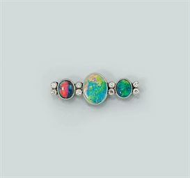 A black opal and diamond brooc