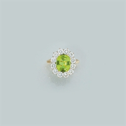 A peridot and diamond cluster