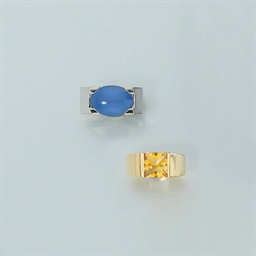 Two gem single stone rings, by