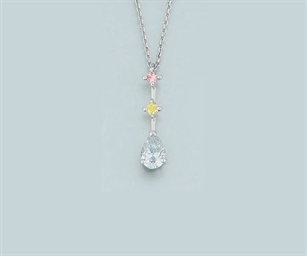 A coloured diamond pendant