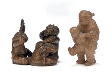 Two Wood Okimono Style Netsuke