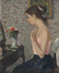 Marie-Lize devant la coiffeuse