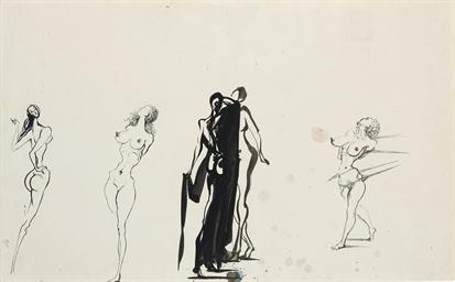 Quatre croquis de nus féminins