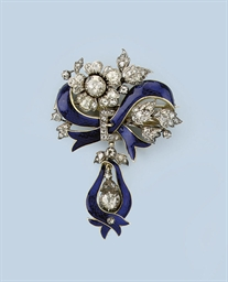AN ANTIQUE ENAMEL AND DIAMOND