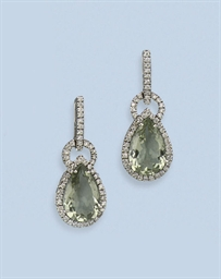 A PAIR OF QUARTZ AND DIAMOND E