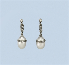 A BELLE EPOQUE PAIR OF PEARL A