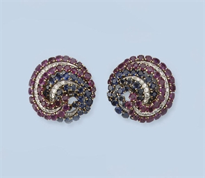 A PAIR OF GEM SET EARCLIPS
