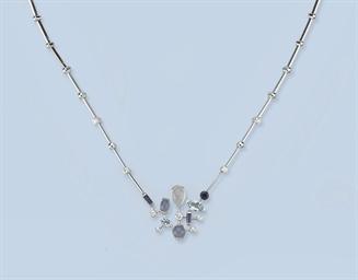 A GEM SET AND DIAMOND NECKLACE