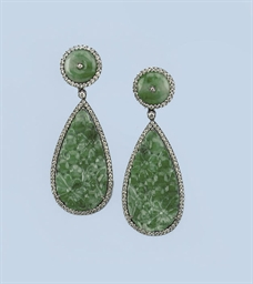 A PAIR OF JADE AND DIAMOND EAR