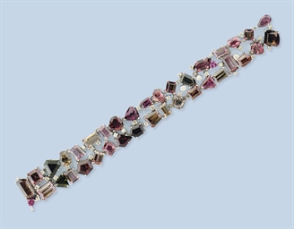 A TOURMALINE AND DIAMOND BRACE