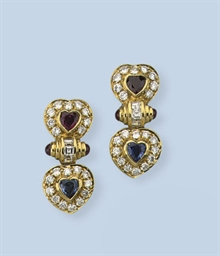 A PAIR OF GEM-SET AND DIAMOND