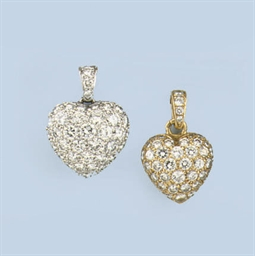 TWO DIAMOND PENDANTS, BY CARTI