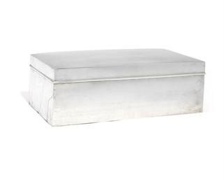 AN AMERICAN SILVER CIGAR-BOX