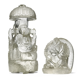 TWO CARVED ROCK CRYSTAL FIGURE