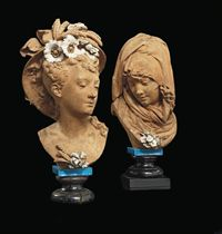 A PAIR OF FRENCH PARTIALLY PAINTED TERRACOTTA ALLEGORICAL FEMALE BUSTS ENTITLED 'L'HIVER' AND 'L'ETE'