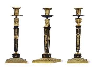 A SET OF THREE EMPIRE ORMOLU A
