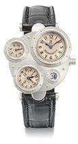 Vianney Halter. A very fine, rare and unusual platinum asymmetrical automatic perpetual calendar wristwatch