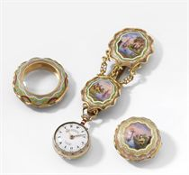 Markwick Markham Perigal. A fine, rare and small 18K gold and enamel triple case verge watch with matching chatelaine, made for the Turkish market