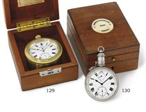 Blockley. An unusual silver openface keyless lever Explorers watch with power reserve and wooden box