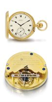 The Northern Goldsmiths Company. A very fine and rare 18K gold hunter case keyless watch with one minute tourbillon carriage by Sydney Better and Kew A Certificate