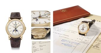 Patek Philippe. An extremely fine and rare 18K pink gold perpetual calendar wristwatch with sweep centre seconds, moon phases, screw back, original certificate, invoice, envelope and box
