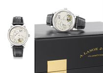A. Lange & Söhne. A very fine and rare platinum limited edition twin barrel one minute tourbillon wristwatch with oversized date and power reserve