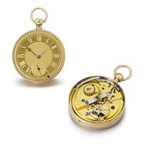 Sigismund Rentzsch. A very rare and unusual 18K gold openface cylinder watch with cover winding, bezel quarter repeating and pendant hand setting