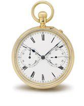 Thomas Dutton. An unusual 18K gold openface split seconds chronograph keyless lever watch
