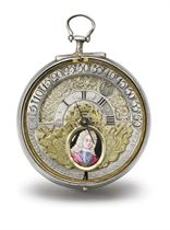 Serner. An unusual and early silver pair case openface wandering hour royal presentation verge watch with the enamel portrait of King George I